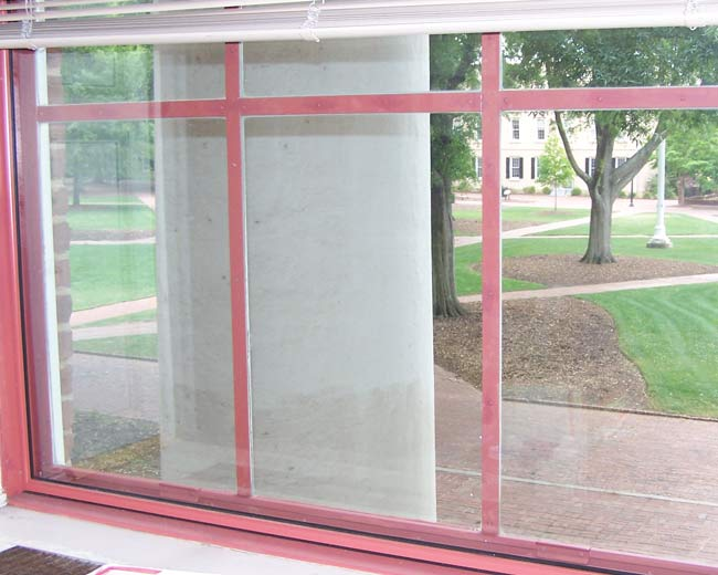 Interior view of window with nearly invisible secondary glazing